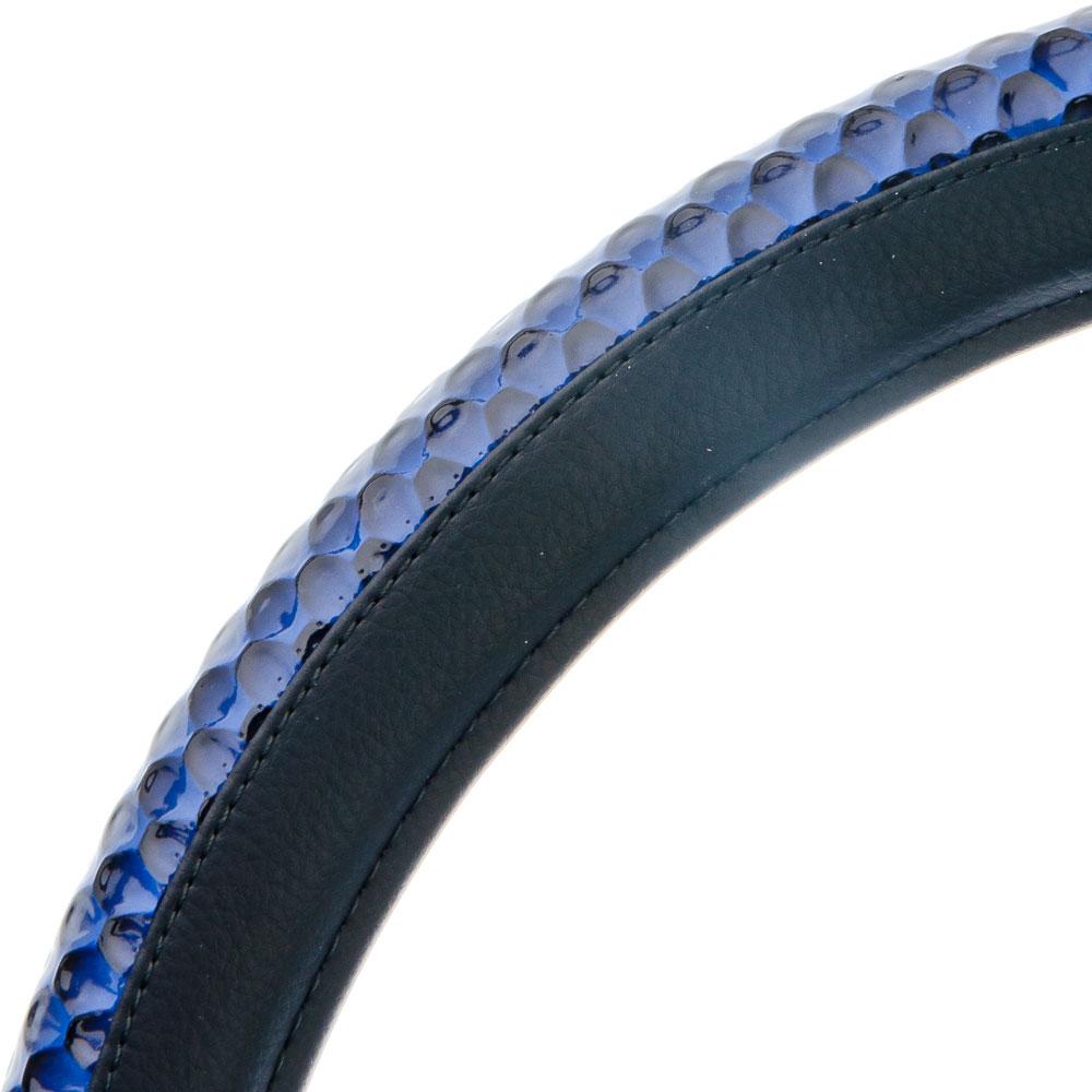 NEW GALAXY Оплетка руля, экокожа, темно-серый, тиснение темно синий, разм. (М)