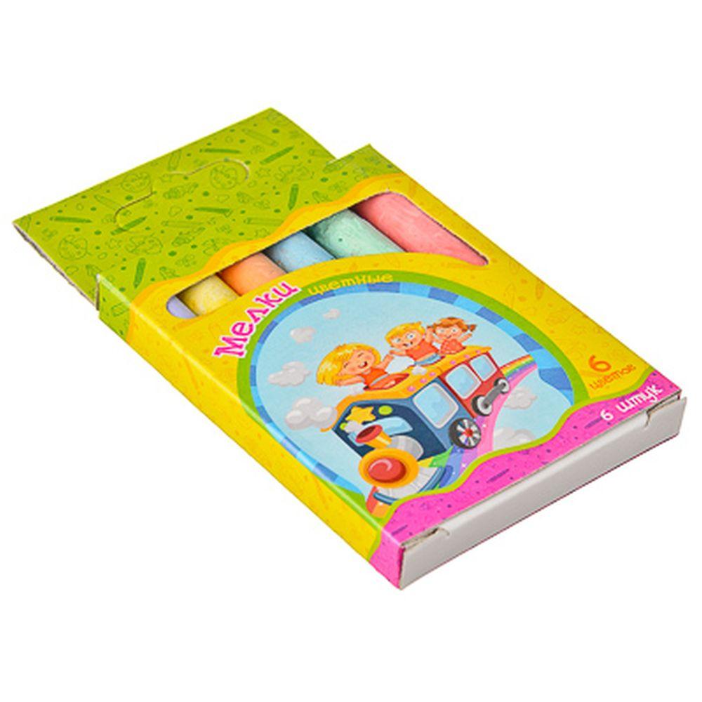 Набор мелков 6шт для рисования цилиндр, цветные 8х1см, 6 цветов