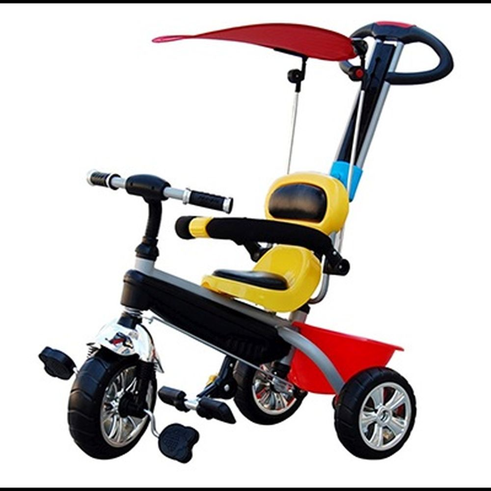 Велосипед детский трехколесный, с ремнями безопасности, тентом, толкателем, корзиной, мультиколор