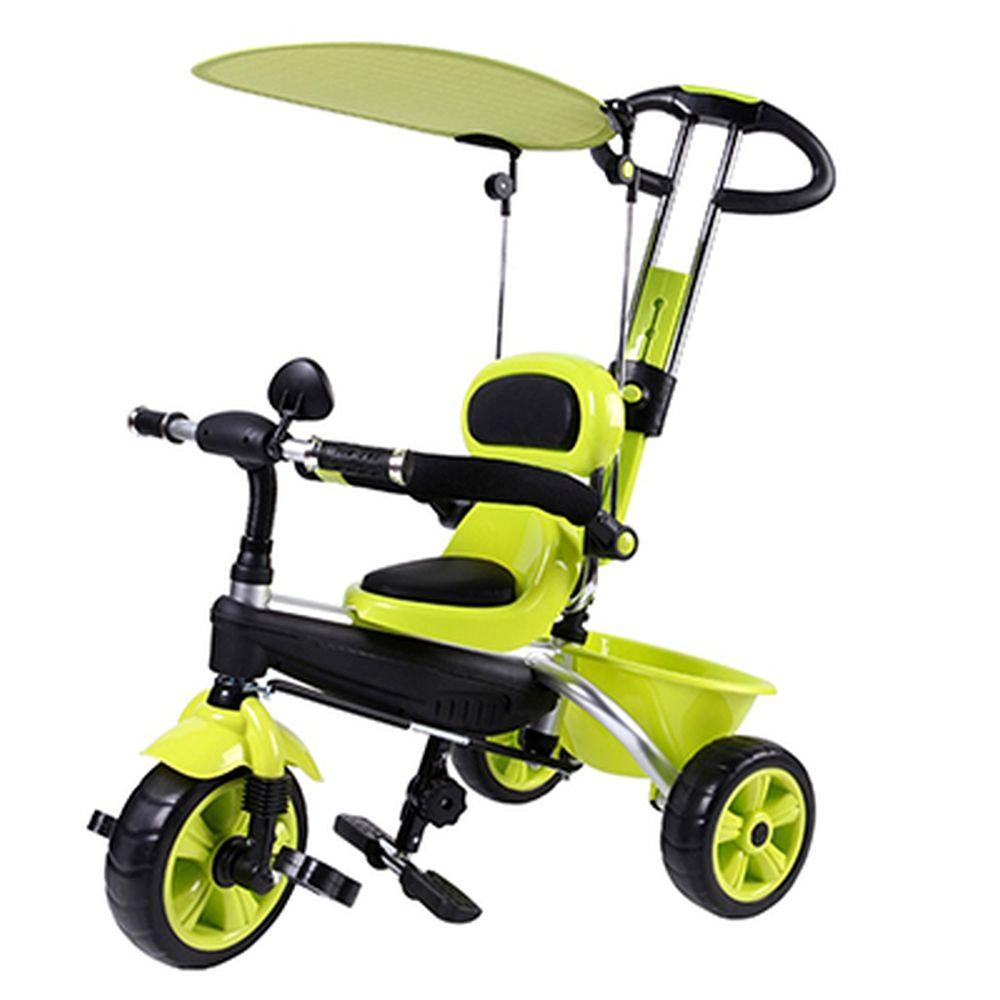 Велосипед детский трехколесный, с ремнями безопасности, тентом, толкателем, корзиной, зеленый