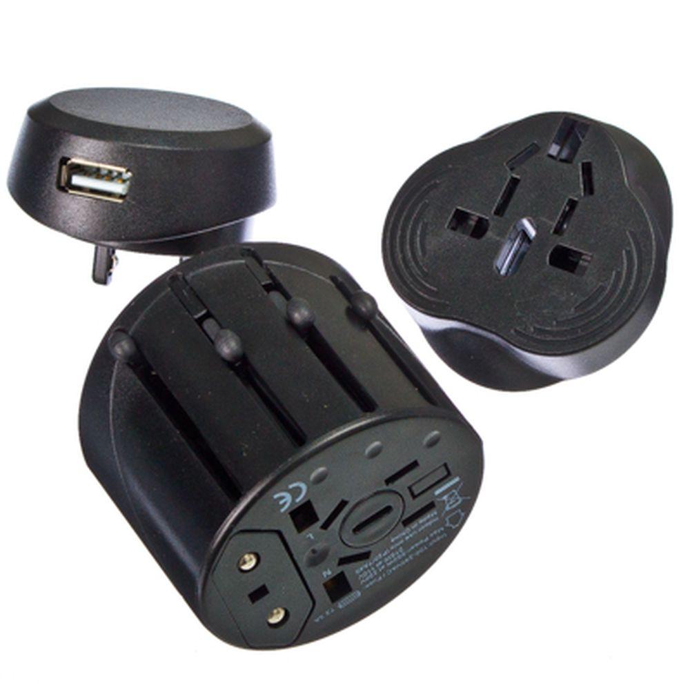Переходник-трансформер сетевой универсальный, пластик, черный, USB-разъём 1А 5В, DC-A3, 10А