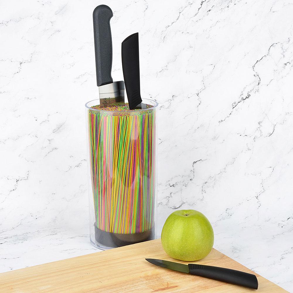 Подставка для ножей SATOSHI, с разделителями, круглая, прозрачная