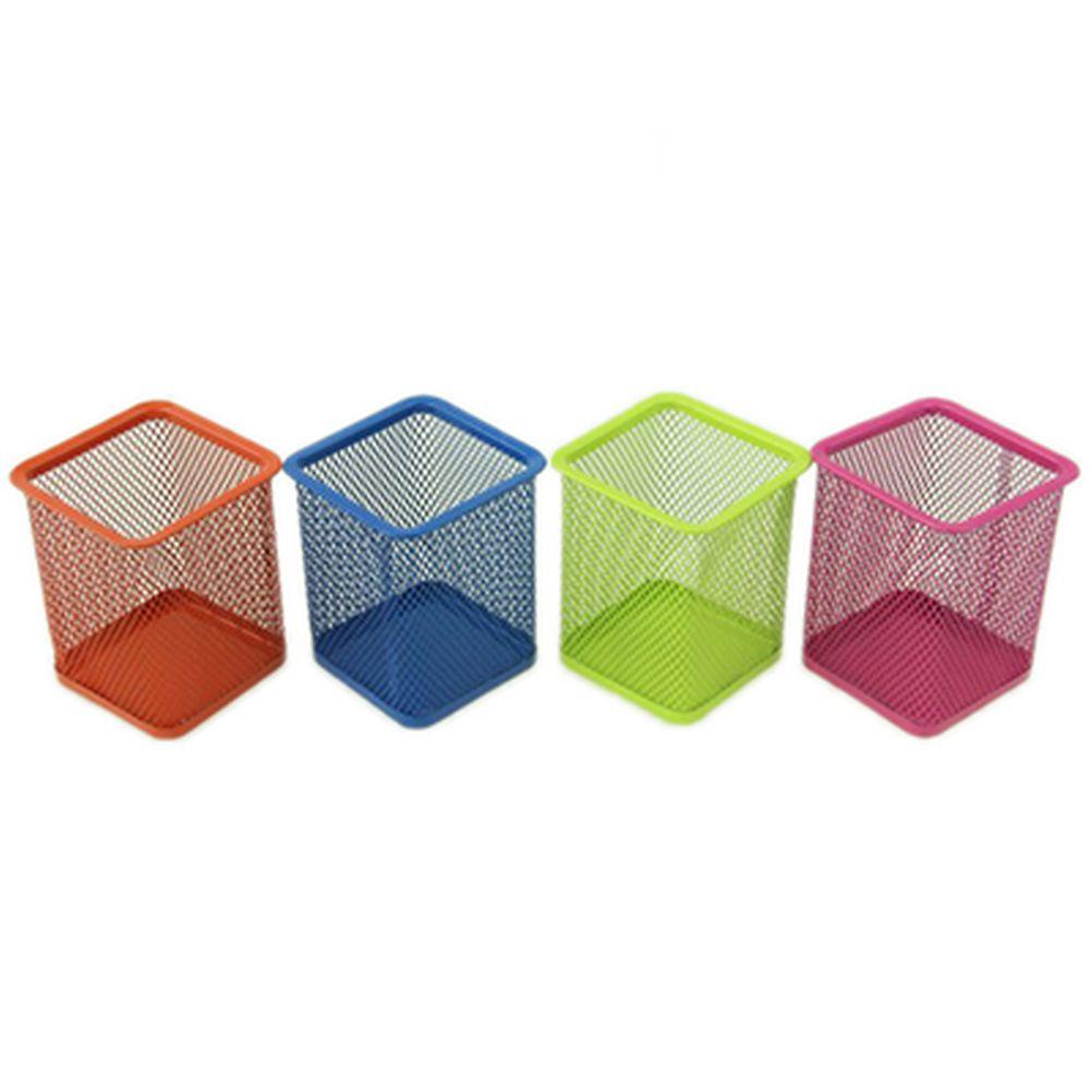 Подставка для ручек и карандашей металл 9,5см, призма, 4 цвета