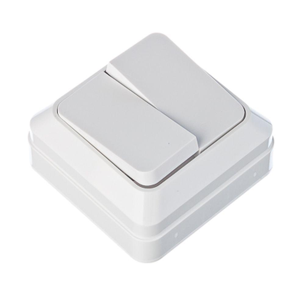 FORZA Simple Выключатель двухклавишный белый, накладной 10А, 250В, пластик ABS