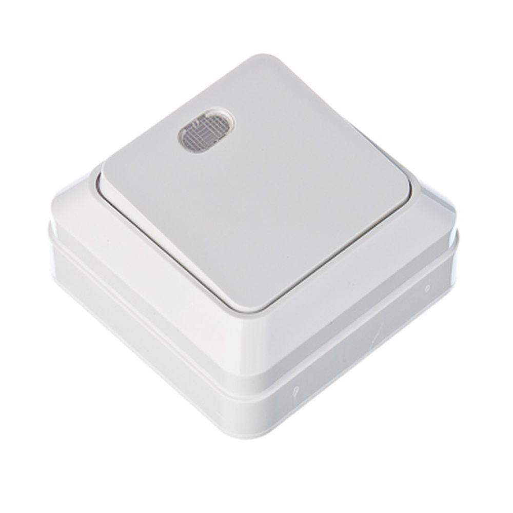 FORZA Simple Выключатель одноклавишный с подсветкой белый, накладной 10А, 250В, пластик ABS