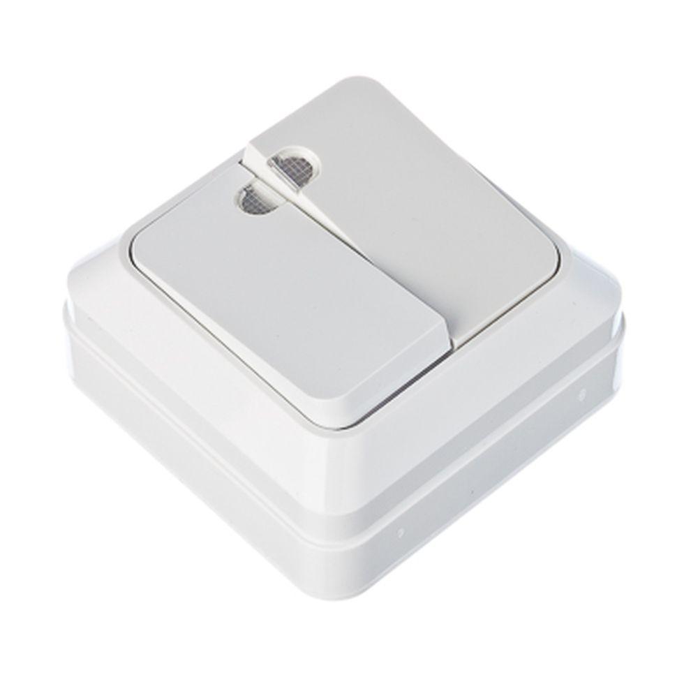 FORZA Simple Выключатель двухклавишный с подсветкой белый, накладной 10А, 250В, пластик ABS
