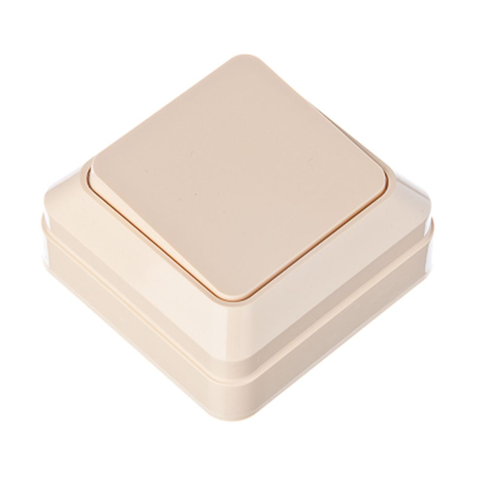 FORZA Simple Выключатель одноклавишный бежевый, 10А, 250В, накладной пластик ABS