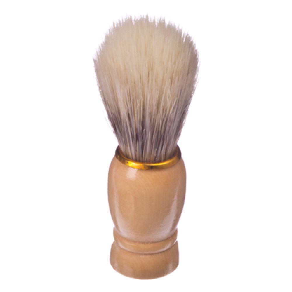 Помазок для бритья, деревянная основа, золотой ободок, искусств.ворс 80%, свиной ворс 20%, 9,5x3см