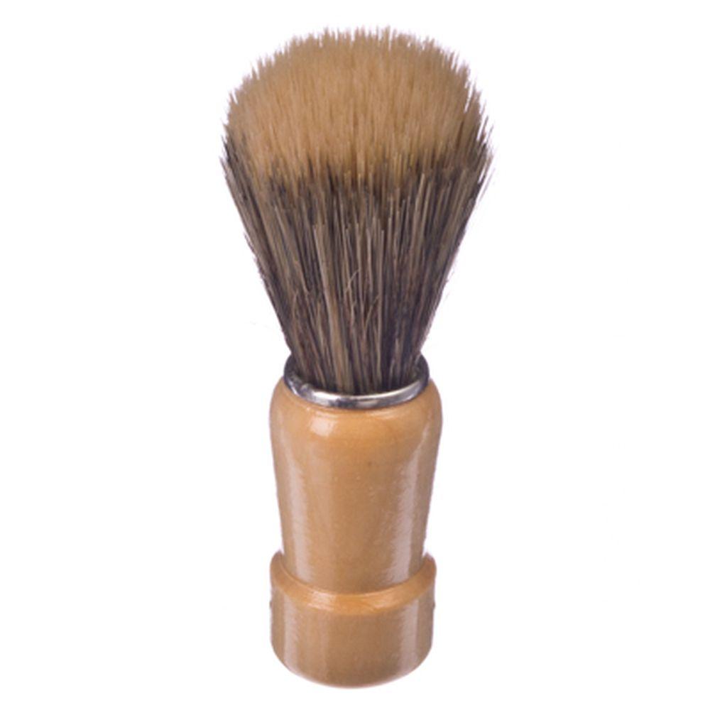 Помазок для бритья, деревянная основа, серебряный ободок, смешанный ворс, 9,5x3см