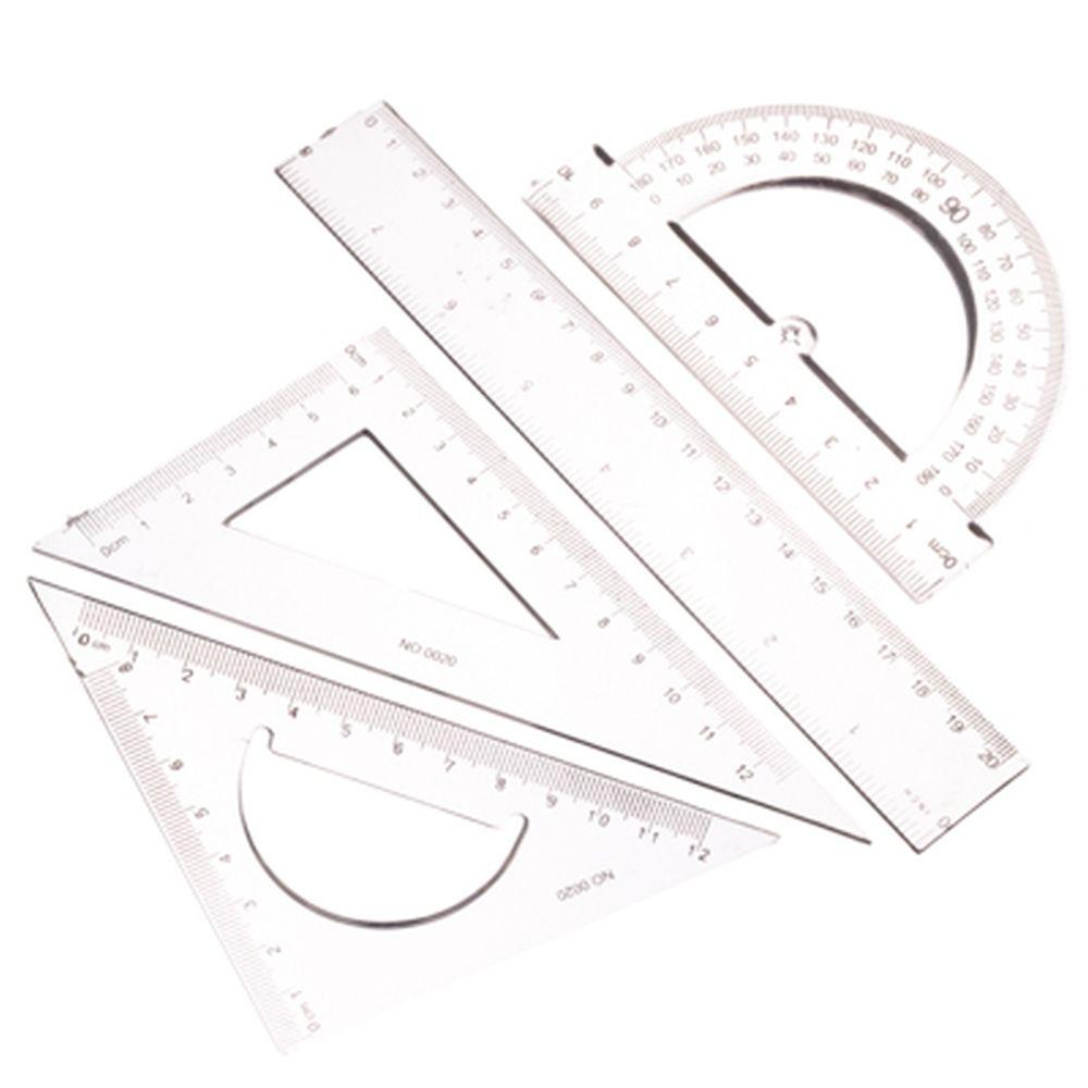 Набор чертежный прозрачный (линейка 20см, два треугольника 15см, транспортир)
