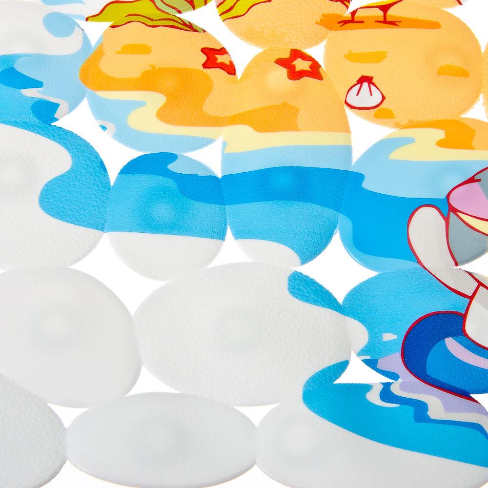 VETTA Коврик в ванну противоскользящий, ПВХ, прямоуг., 70x34см, 4 дизайна, арт.KV041