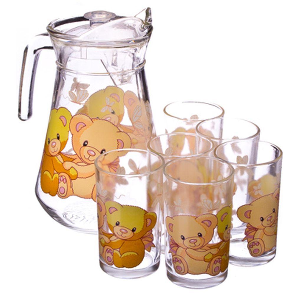 "VETTA Набор 7 пр. (стаканы 6шт 220мл, кувшин 1,5л), стекло ""Мишки"""