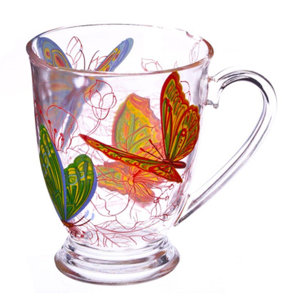 "VETTA Кружка стеклянная, 360мл, на ножке, ""Бабочки"""