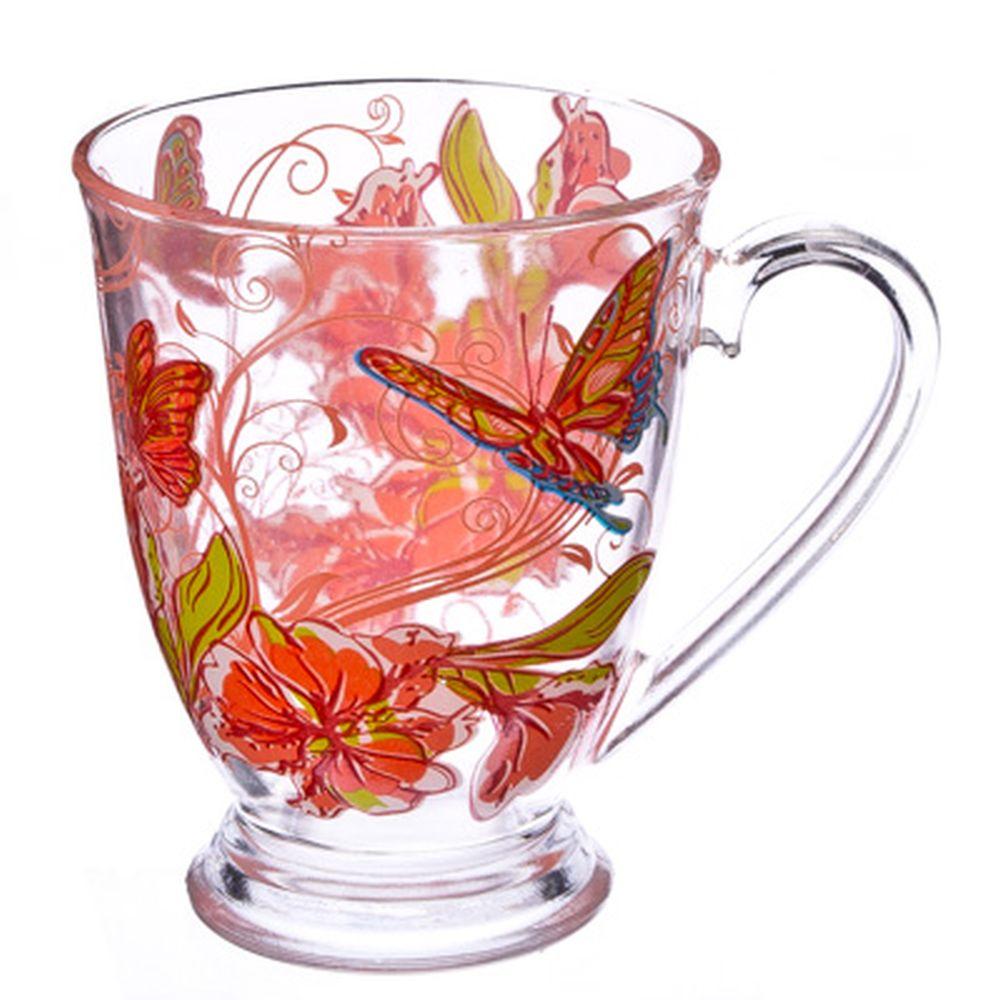 "VETTA Кружка стеклянная, 360мл, на ножке, ""Розовые бабочки"""