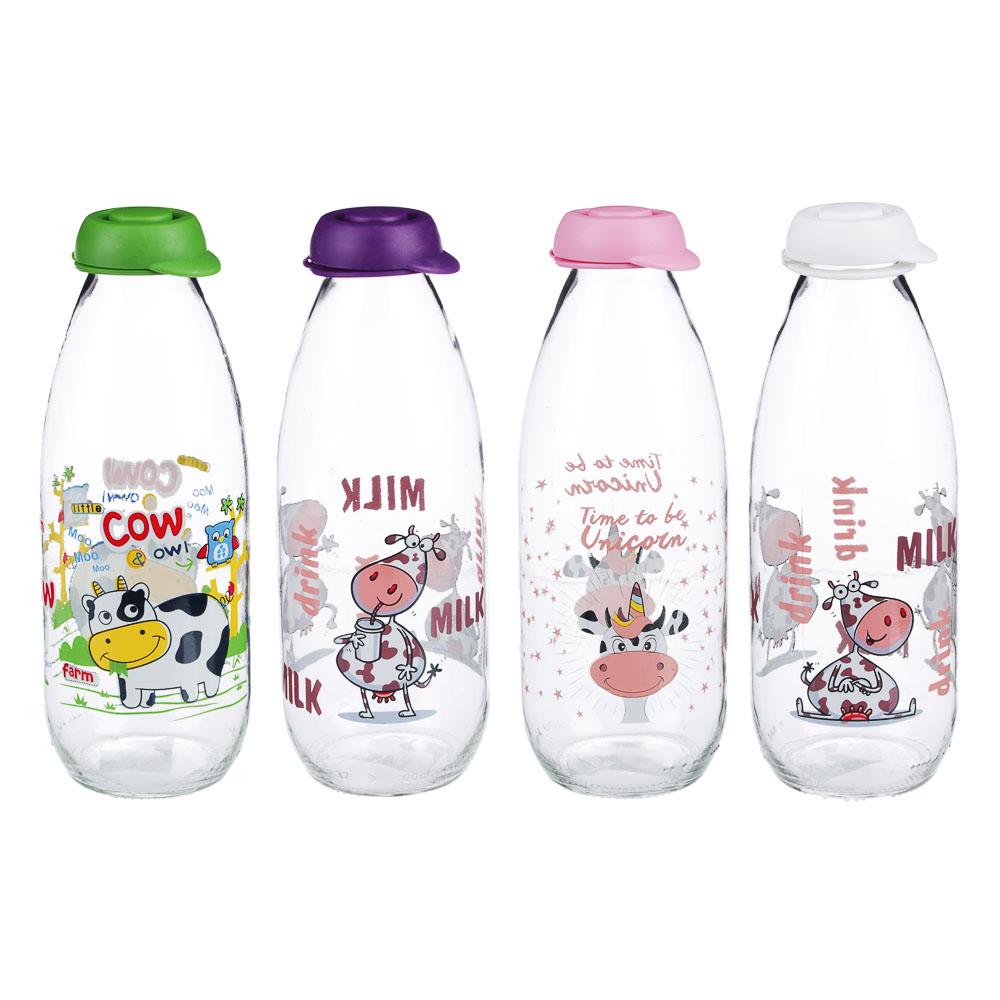 "Бутылка для молока 1000 мл, стекло, HEREVIN ""Милки"" 111708"