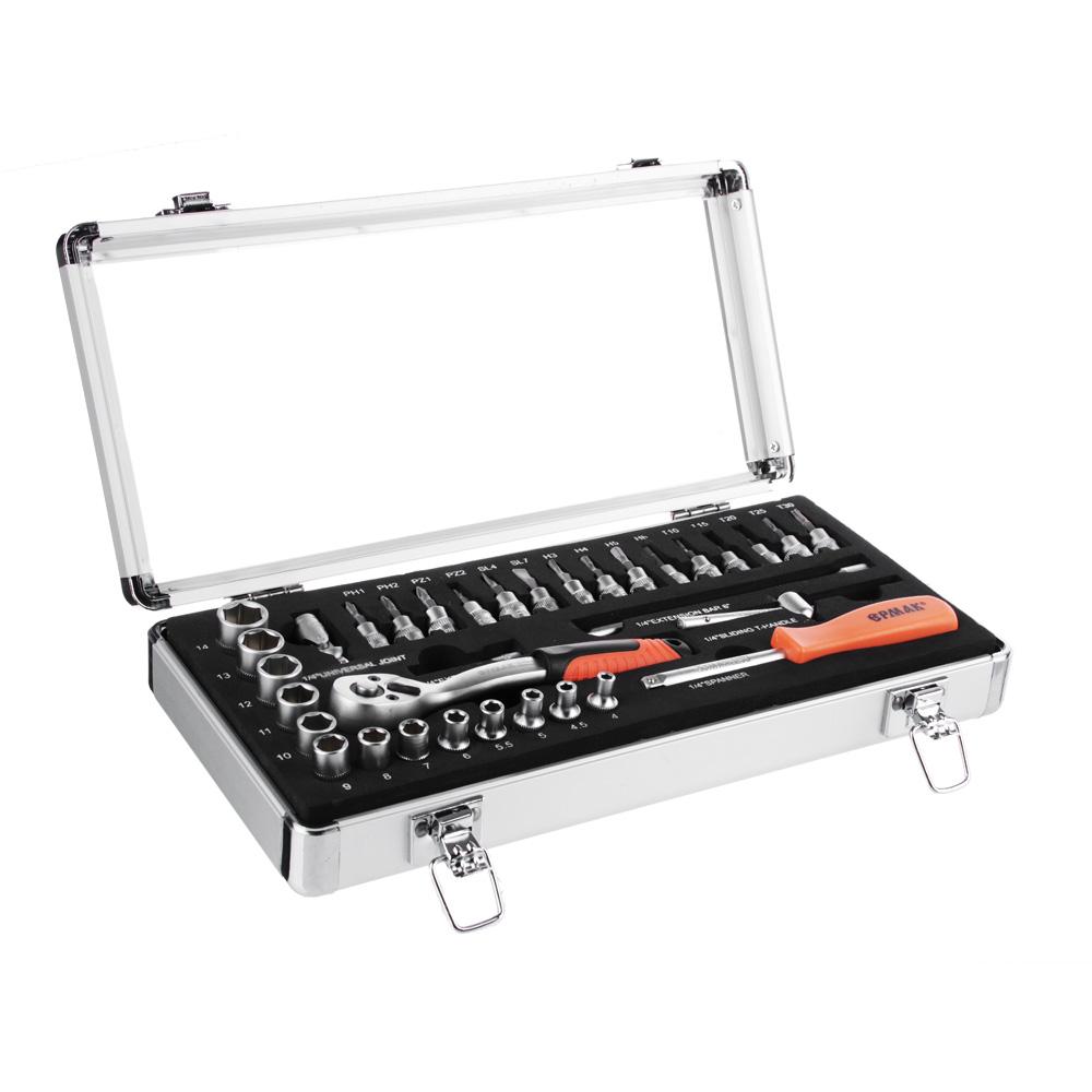 ЕРМАК Набор профессионального инструмента, 34 предм., алюминиевый кейс 1/4DR (головки 6гран)
