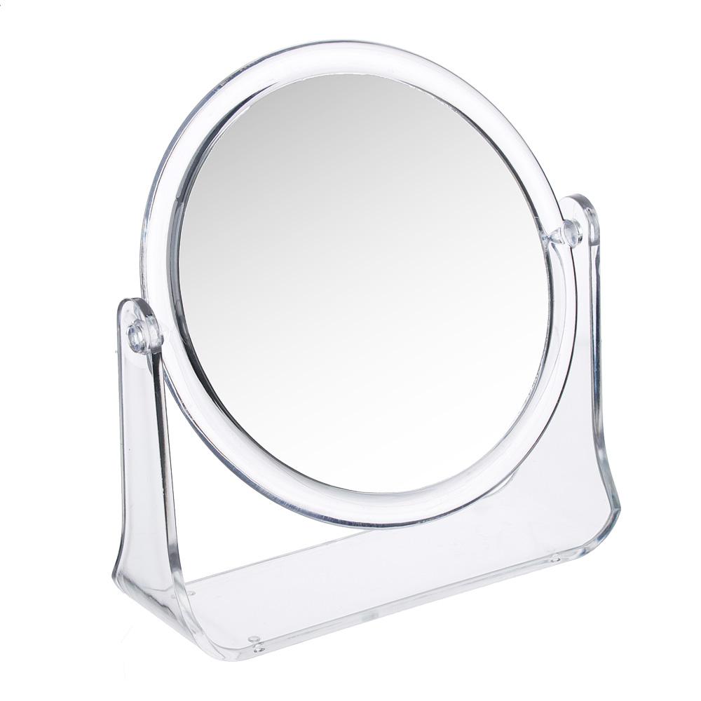 Зеркало настольное круглое d. 14 см, пластик прозрачный
