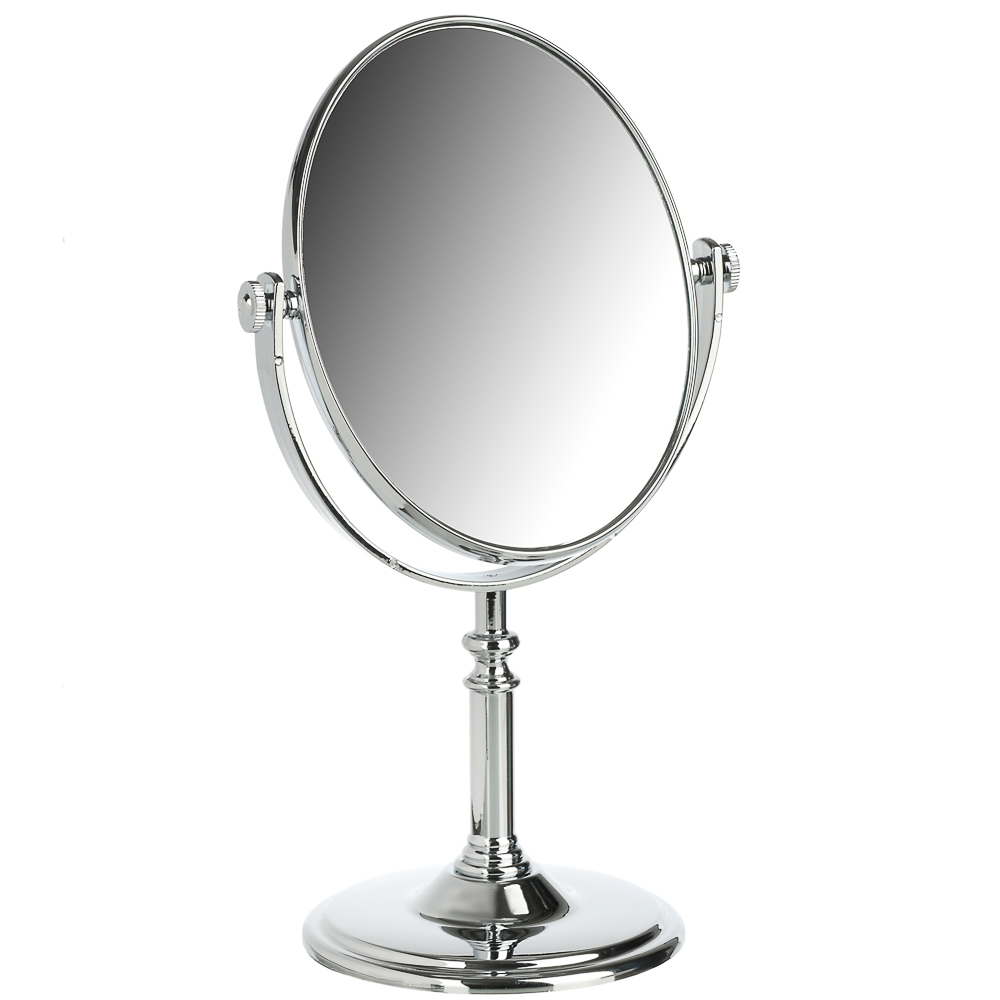 Зеркало настольное круглое, пластик, 17,5х29х10 см, серебро