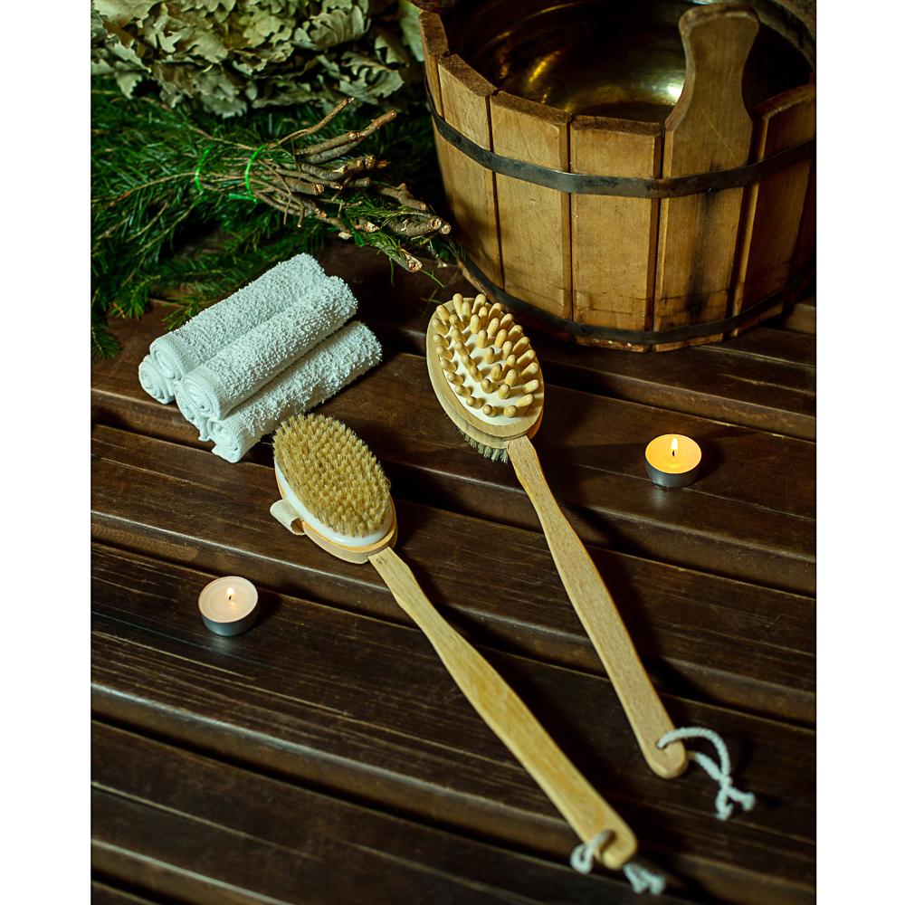 Щетка для тела двойная с натур. щетиной и массажером на цельной деревянной ручке, 42см