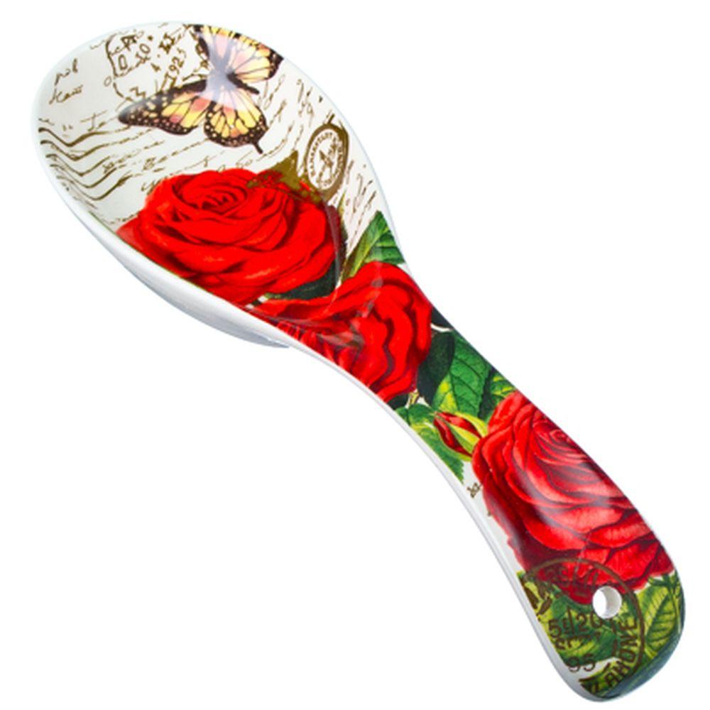 """FARFALLE Ложка подстановочная, керамика, 22см, """"Розы"""""""