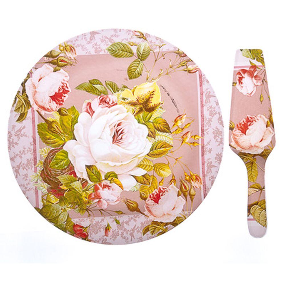 VETTA Нежные розы Набор для торта 2 пр. 25см, стекло, S3000/2 PDQ
