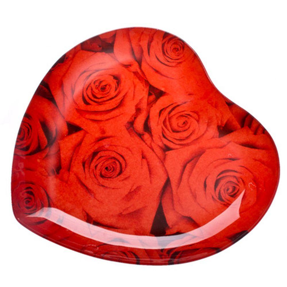 """VETTA Блюдо стекло, 25,4см, """"Сердце Красные розы"""", L215"""
