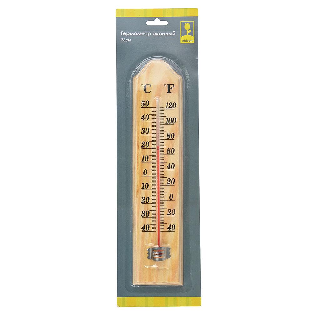 INBLOOM Термометр оконный на блистере, дерево -40+50, 26см