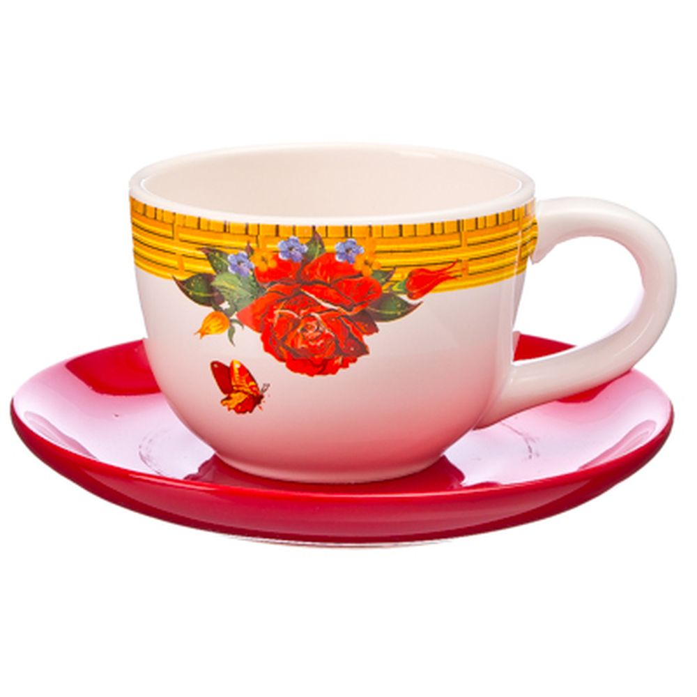 Золотая роза Чайная пара 230мл, керамика