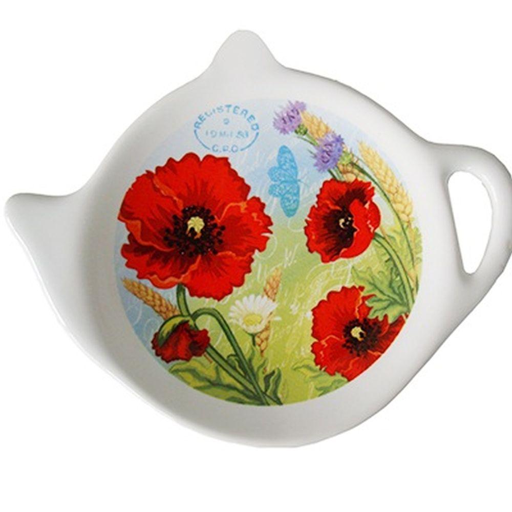 """Подставка для чайных пакетиков 2шт, керамика, 12,5x8x0,96см, """"Маки"""""""