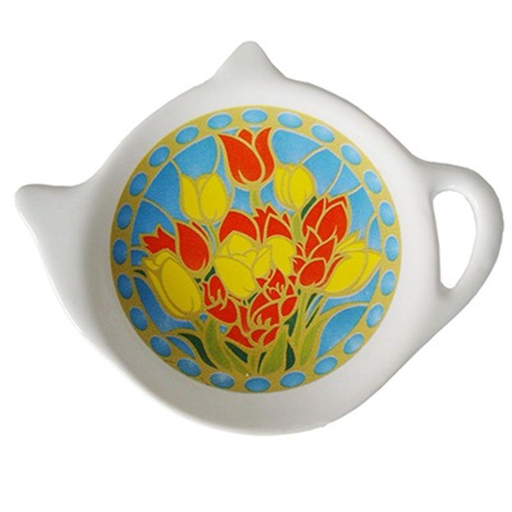 """Подставка для чайных пакетиков 2шт, керамика, 12,5x8x0,96см, """"Тюльпаны"""""""