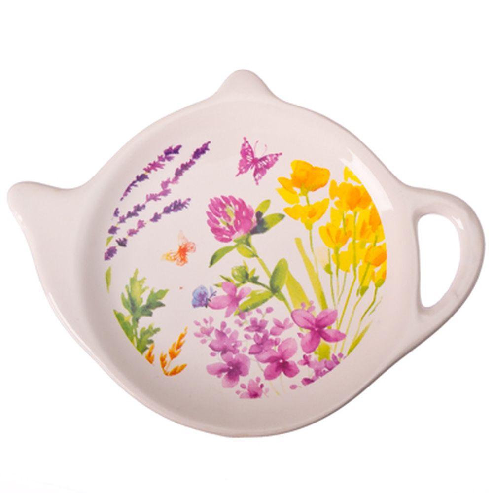 """Подставка для чайных пакетиков 2шт, керамика, 12,5x8x0,96см, """"Цветущий луг"""""""