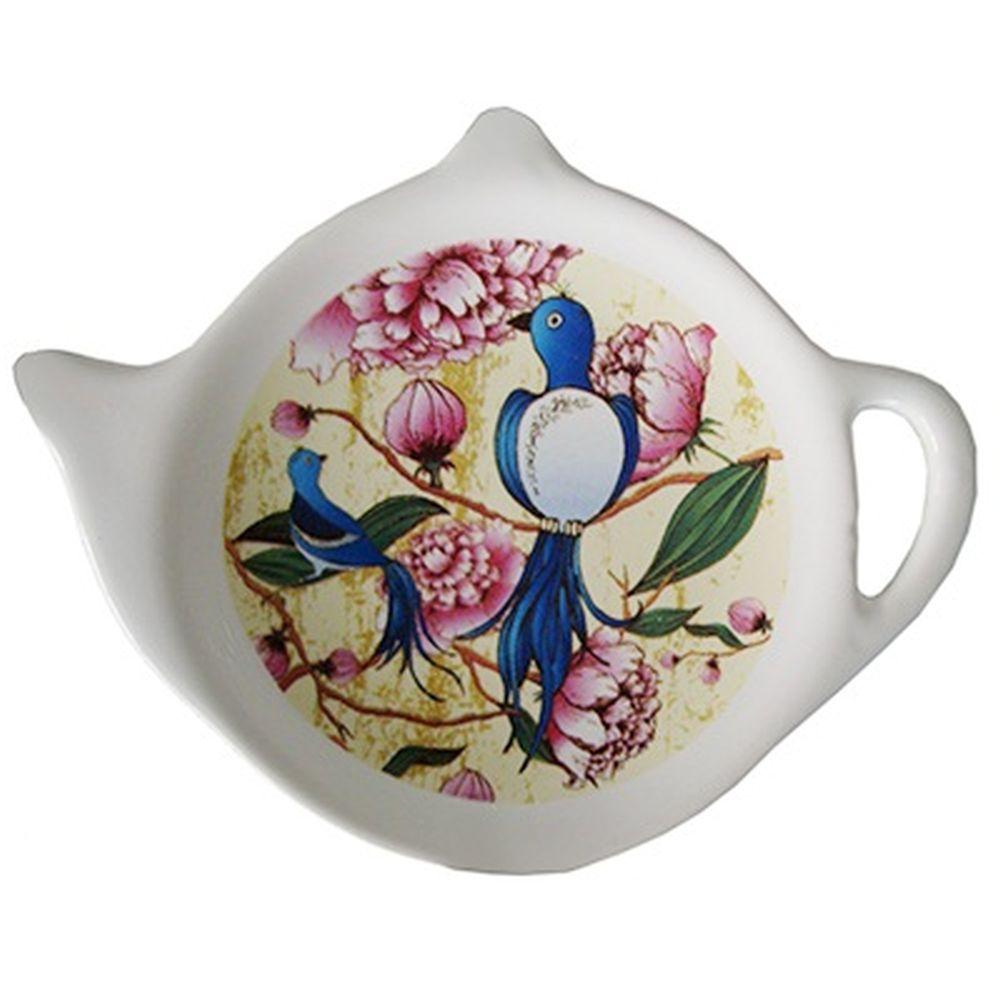 """Подставка для чайных пакетиков 2шт, керамика, 12,5x8x0,96см, """"Синяя Птица"""""""