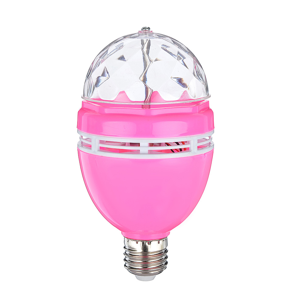 Лампочка-проектор, вращение 360 градусов, E27, 3W, пластик, 15см, 4 цвета
