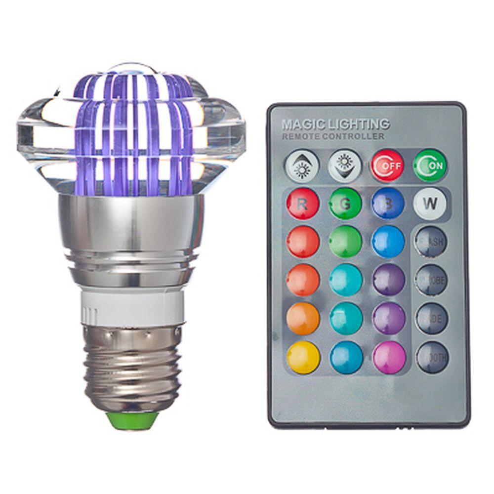 Лампа на дистанционном управлении, пластик, 10см, меняет цвет, цоколь Е27, 3W, FR-1