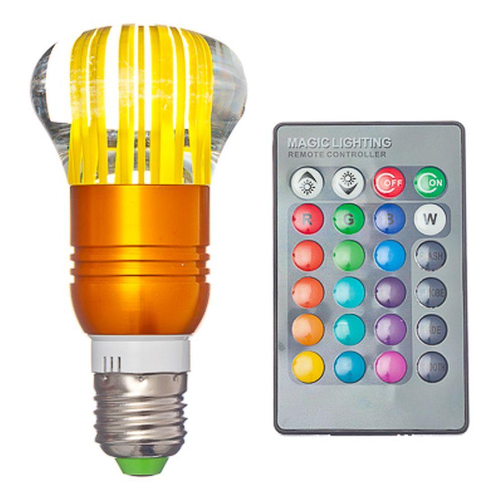 Лампа на дистанционном управлении, пластик, 12см, меняет цвет, цоколь Е27, 3W, FR-2