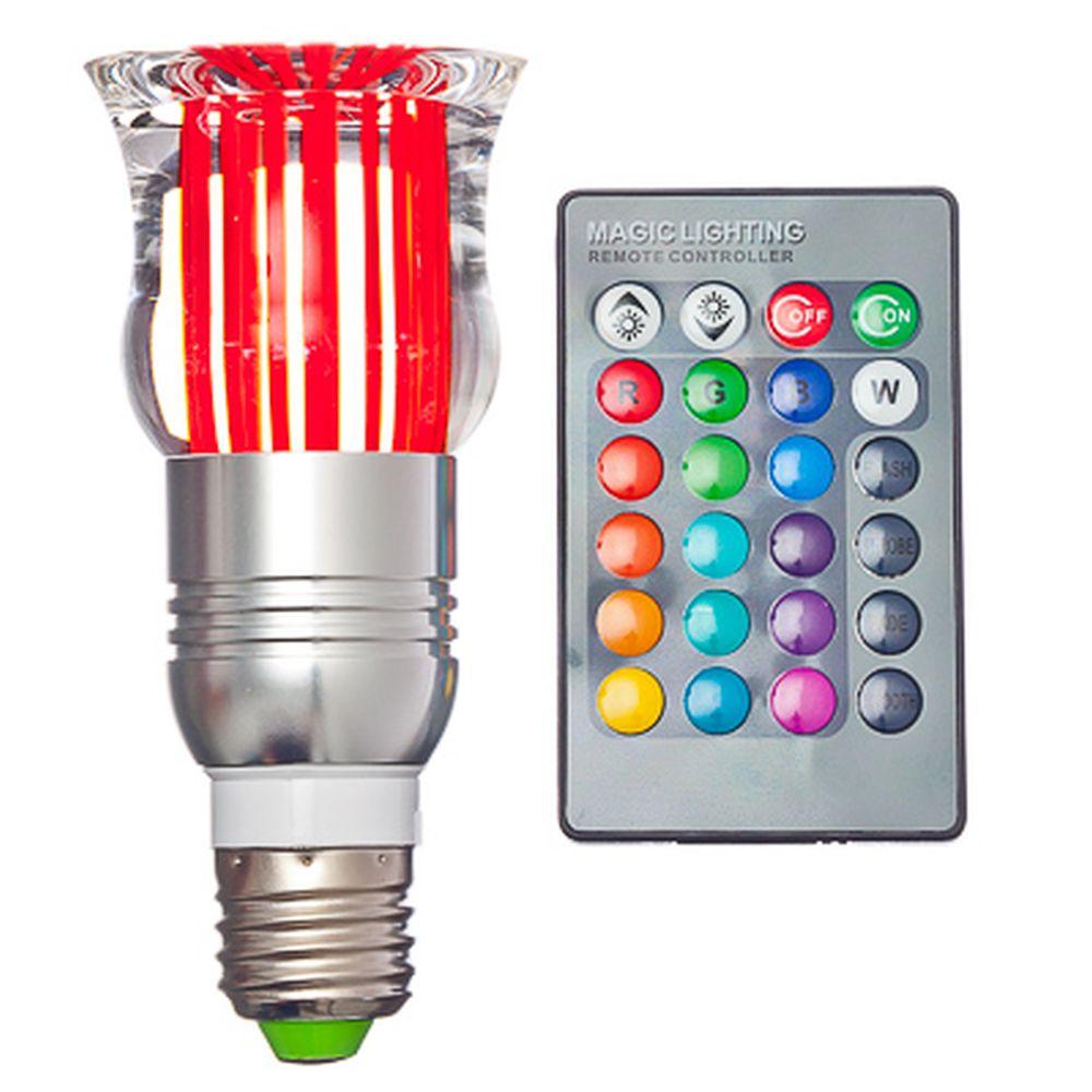 Лампа на дистанционном управлении, пластик, 12см, меняет цвет, цоколь Е27, 3W, FR-3
