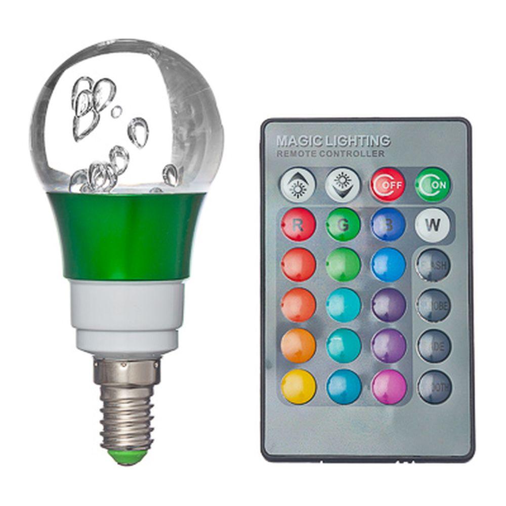 Лампа на дистанционном управлении, пластик, 10см, меняет цвет, цоколь Е14 миньон, 3W, FR-4