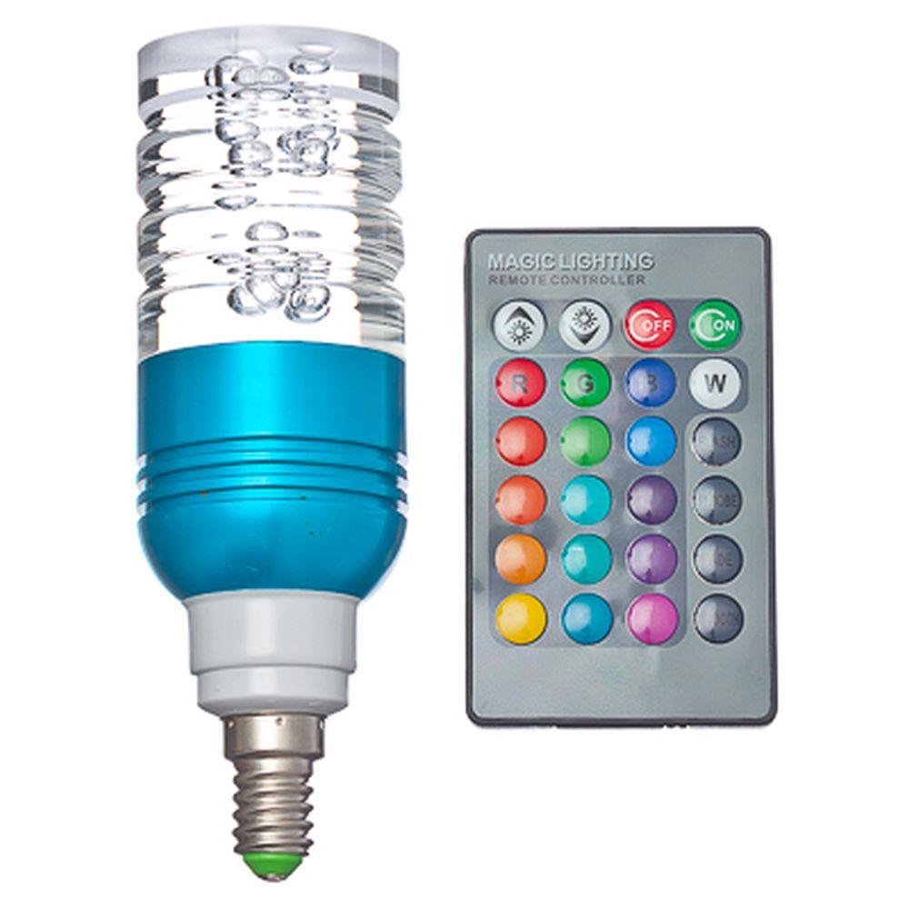 """Лампа на дистанционном управлении """"Пузырьки"""", пластик, 13см, меняет цвет,цоколь E14 миньон, 3W, BB-2"""