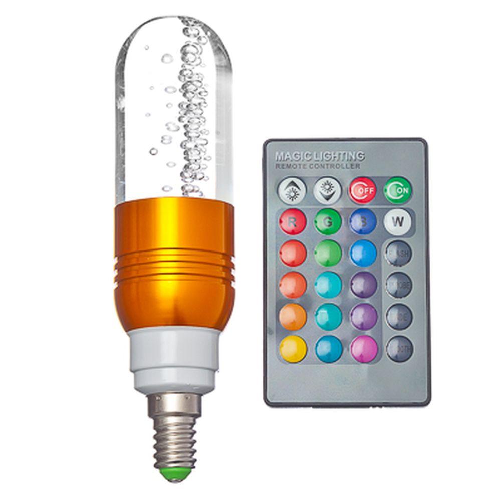 """Лампа на дистанционном управлении """"Многогранная"""", стекло, 4х10см, меняет цвет, цоколь E14 миньон, 3W"""