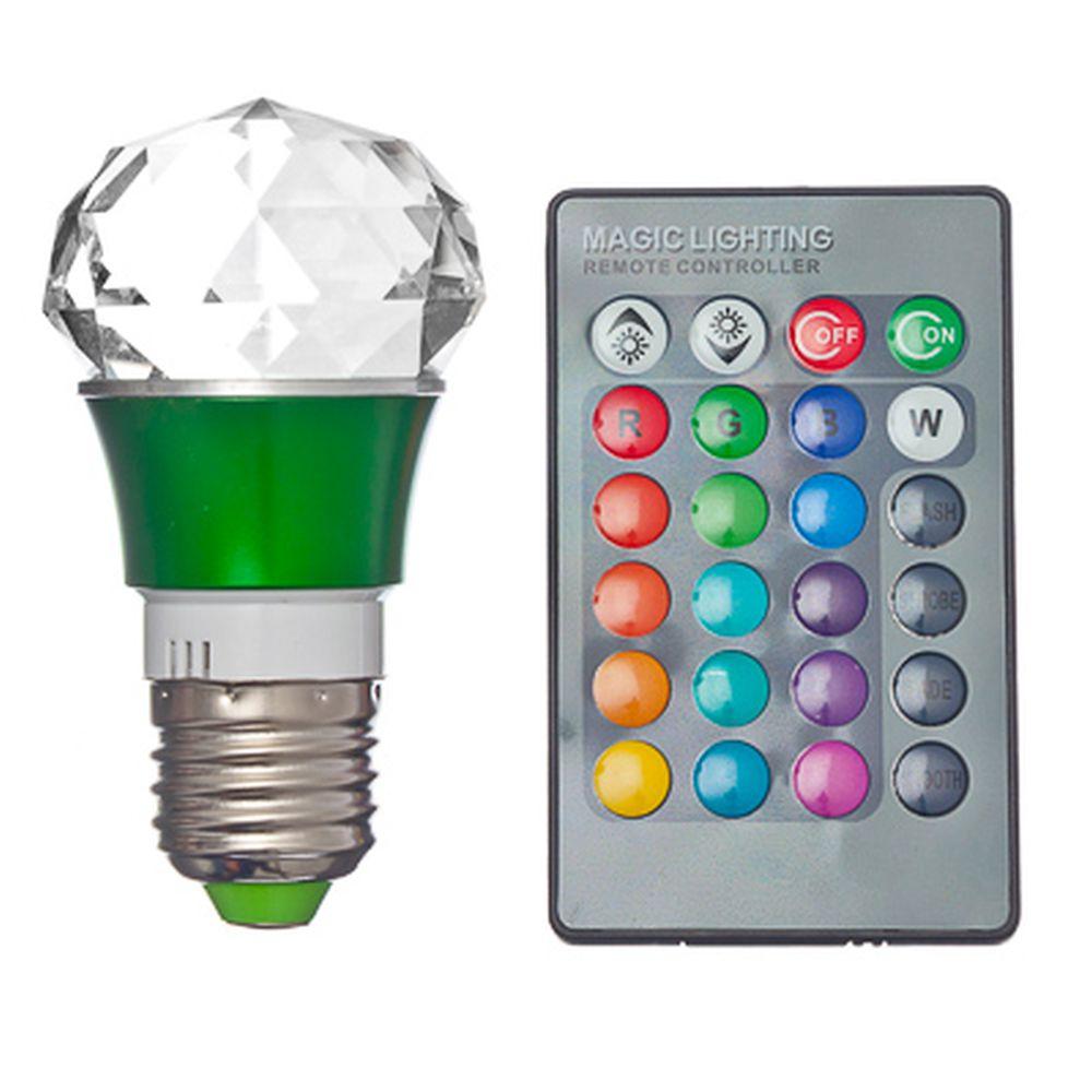 """Лампа на дистанционном управлении """"Многогранная"""", пластик, 9см, меняет цвет, цоколь Е27, 3W"""