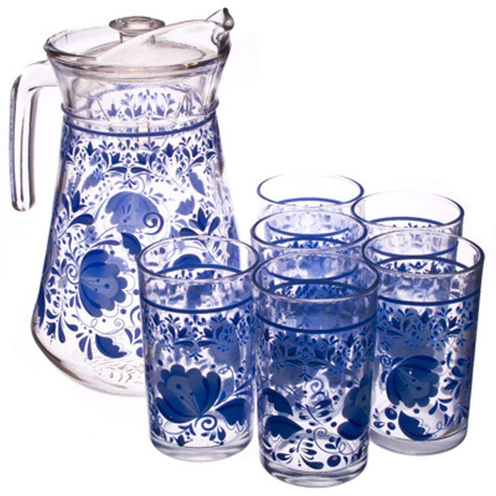 "VETTA Набор 7 пр. (стаканы 6шт 220мл, кувшин 1,5л), стекло, ""Гжель"""