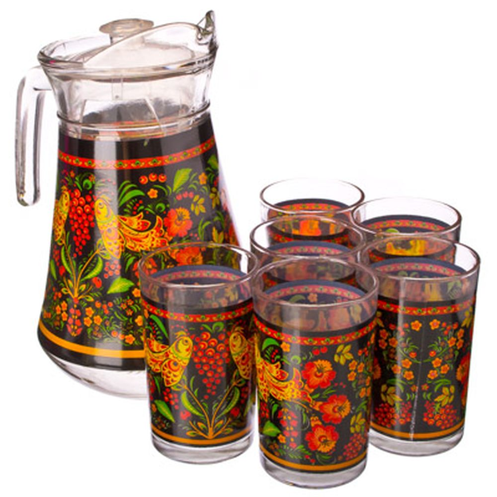 """VETTA Набор 7 пр. (стаканы 6шт 220мл, кувшин 1,5л), стекло, """"Хохлома"""""""