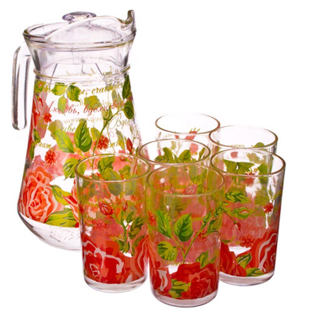 "VETTA Набор 7 пр. (стаканы 6шт 220мл, кувшин 1,5л), стекло, ""Розы"""