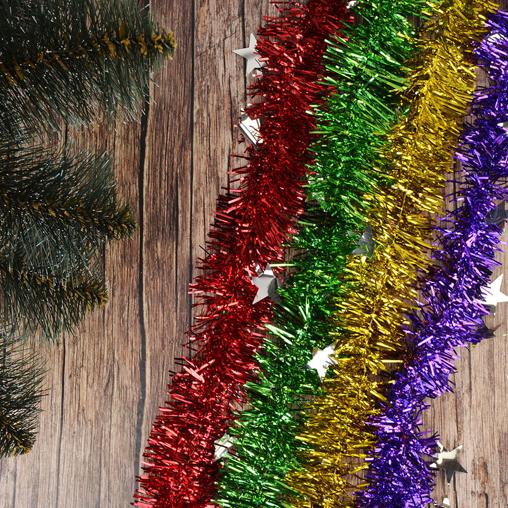 СНОУ БУМ Мишура из фольги, 200x10см, со звездами, 4 цвета, SYDT-118