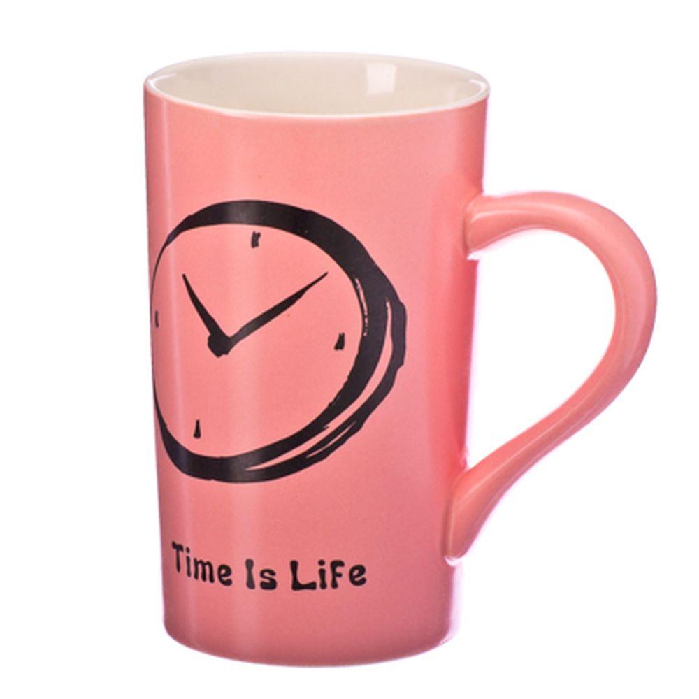 "Кружка сувенирная, 550мл, фарфор, ""Time is life"", 4 цвета, подар.уп."