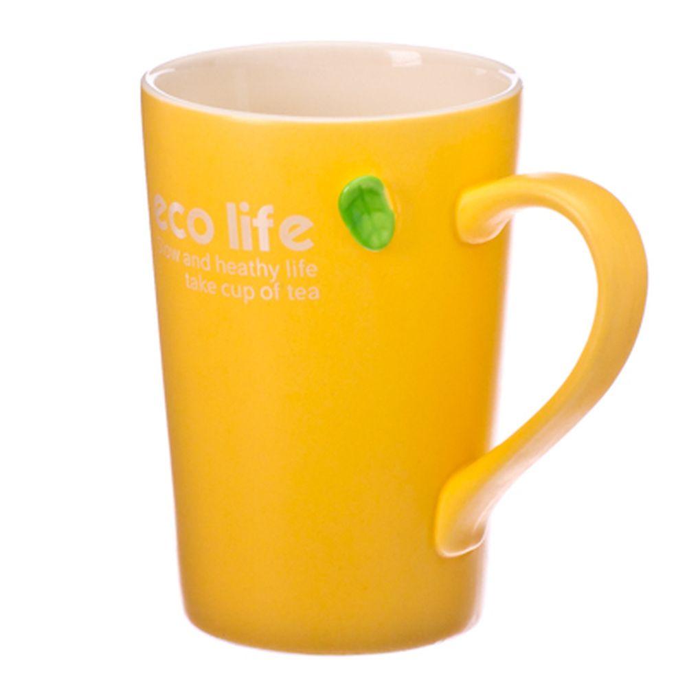 """Кружка сувенирная, 400мл, фарфор, """"Eco Life"""", 4 цвета, подар.уп."""