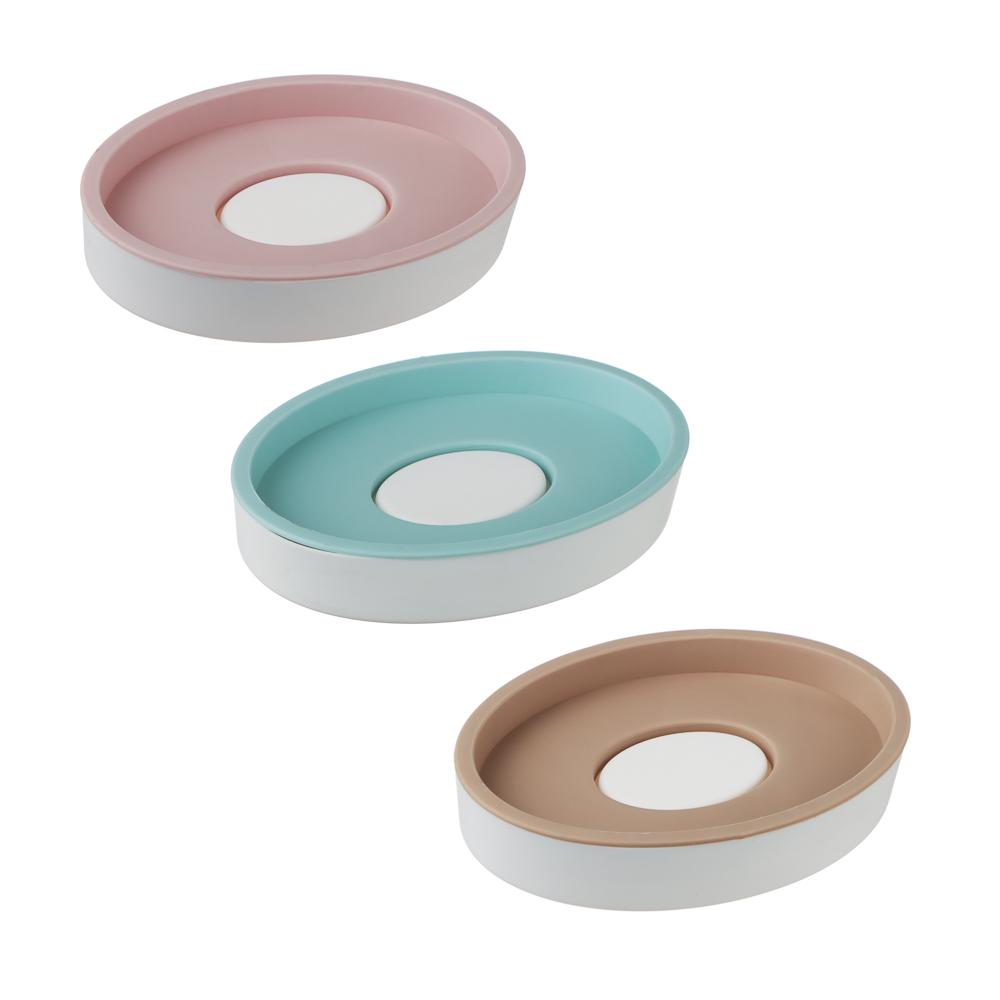 Мыльница овальная, пластик, 12х8,5см, 3 цвета