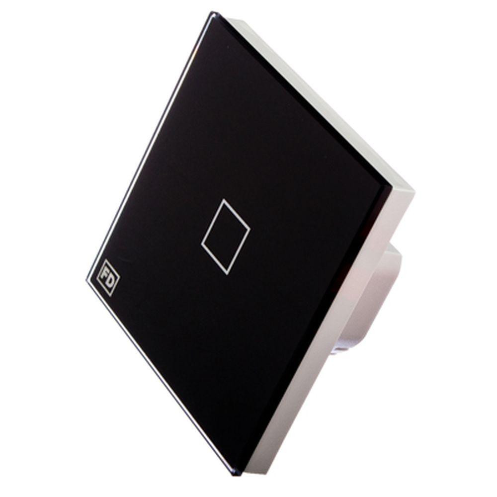 FDelectonics Выключатель сенсорный одинарный черный, стекло, пластик,KG-020BL