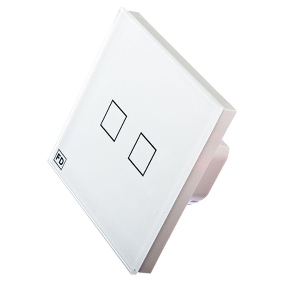 FDelectonics Выключатель сенсорный двухклавишный белый, стекло, пластик, KG-021CL