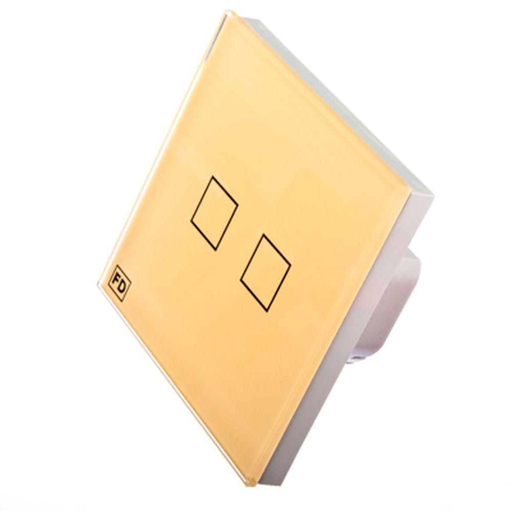 FDelectonics Выключатель сенсорный двухклавишный бежевый, стекло, пластик, KG-021VI
